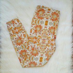 Lularoe Orange White Floral Printed Leggings
